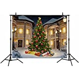 Funnytree 7x5ft Christmas Theme Polyester Photography Backdrop Christmas Tree Winter Snow House For Family Background Studio Prop Photocall