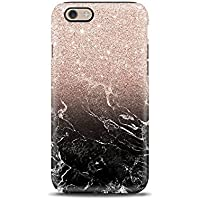 Marmo Nero Glitter cover case custodia per iPhone 5, 5s, 6, 6s, 7, 7 plus, 8, 8 plus, per Galaxy S6, S7, S8