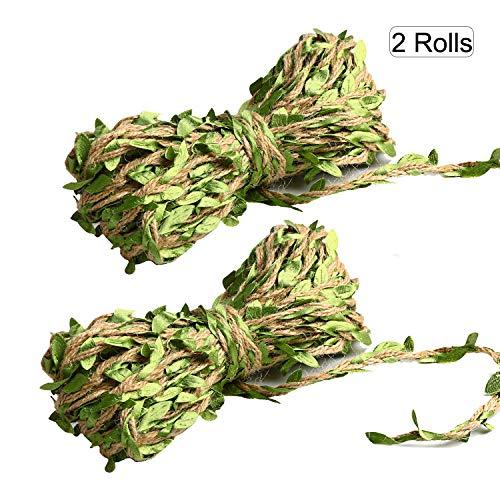 2 Rollos OOTSR Cuerda cáñamo hoja artificial, 10m