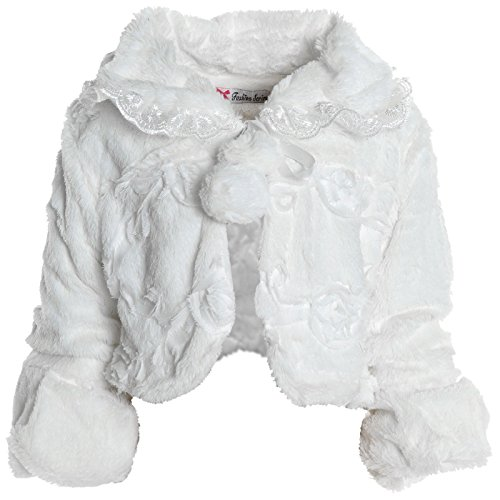Mädchen Pelz Bolero Strick Kinder Rüschen Ärmel Schulterjacke Winter Jacke 20630
