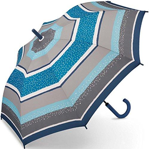 Esprit Damen Stockschirm Automatik Punkte Dots gestreift - Sparkle stripe - blue