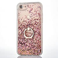 iPhone 6 6S Case [With Free Tempered Glass Screen Protector],Mo-BeautyŽ Flowing Liquid Floating Flowing Bling Shiny Sparkle Glitter Crystal Clear Plastic Hard Case Protective Shell Case Cover For Apple iPhone 6 6S (Rose gold)