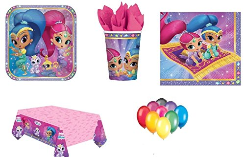 Shimmer and Shine Party Supplies Platos de cumpleaños para niñas Tazas de mesa Servilletas Tapa de mesa 16 personas con GLOBOS GRATUITOS VELAS DE BOMBAS DE GLOBO