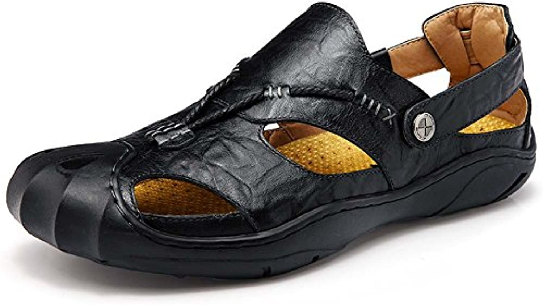 Mengxx Sandalias de Cuero para Hombres Zapatos Cómodos Cerrados Zapatos de Moda Verano Zapatos para Exteriores