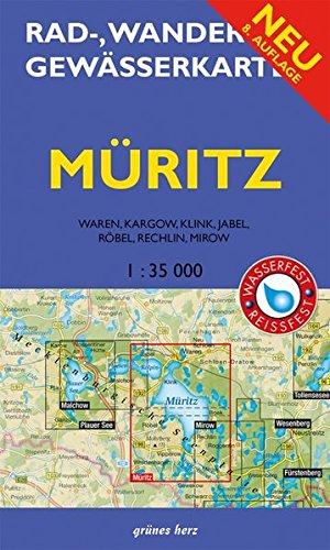Rad-, Wander- und Gewässerkarte Müritz: Mit Waren, Kagow, Klink, Jabel, Röbel, Rechlin und Mirow. Doppelkarte. Maßstab 1:35.000. Wasser- und reißfest./Rad-, Wander- und Gewässerkarten, 1:35.000