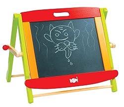 Lelin Wooden Childrens Kids 2 In 1 Black & White Chalk Drawing Easel Board