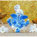 Gold Art India Silver Plated Pagdi Ganesha with Blue Terracotta Color (6x4x3 cm)