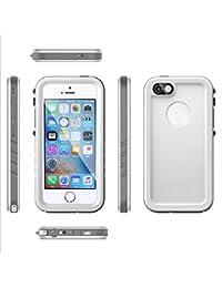 Funda Impermeable iPhone SE 5SE 5 5S [Happon][Certificación IP68] Resistente al Agua a Prueba de Polvo a Prueba de Golpes Funda Case Waterproof Completamente Aellada con Protector de Pantalla para iPhone SE 5SE 5 5S (Blanco)