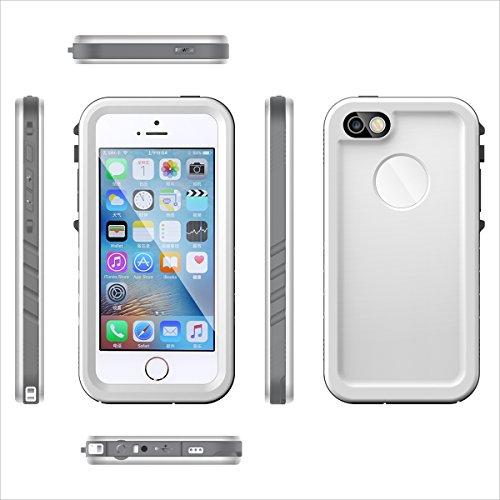 FindaGift iPhone SE 5SE 5 5S Wasserfeste Hülle, Ultra dünner Wasserdichter stoßsicherer Wasserdichter Snowproof voller Körper-Kasten-Abdeckungs-Schutzmit Touch ID-Funktion für iPhone 5 5S (Weiß)