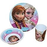 Disney Frozen La Reine des neiges Service de table enfant avec assiette, bol et gobelet en mélamine
