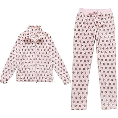 DMMSS linda de las mujeres ropa de noche de invierno de dibujos animados de la franela de onda punto de impresión 2-pijama pieza Conjuntos , figure color , l