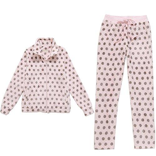 DMMSS femminile sveglio di inverno gli indumenti da notte del fumetto flanella Saluto punto stampa 2-pigiama pezzo set , figure color , l