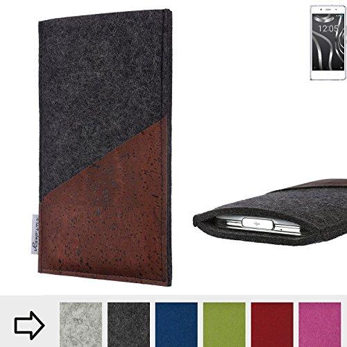 Handyhülle EVORA mit Korktasche für BQ Readers Aquaris X5 Plus - Schutz Case Etui Filz Made in Germany in anthrazit mit Korkstoff braun - passgenaue Handy Tasche für BQ Readers Aquaris X5 Plus