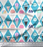 Soimoi Blau Samt Stoff Diamant & Eiswaffel Lebensmittel Dekor Stoff gedruckt 1 Meter 58 Zoll breit