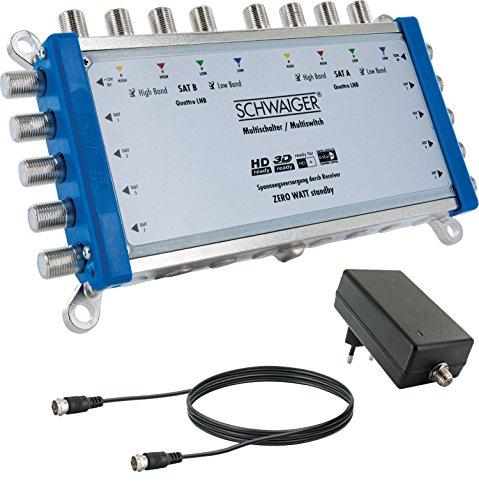 SCHWAIGER -5217- Multischalter 9->8 / Verteilt 2 SAT-Signale auf 8 Teilnehmer / SAT-Splitter mit externem Netzteil / digital Multiswitch für Signal-Verteilung / in Kombi mit zwei Quattro LNB's