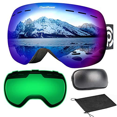 7baa153040 ChantPower Gafas de Esquí, Snowboard Nieve Gafas con OTG Imán Doble Capa  Lente Diseño Esférico