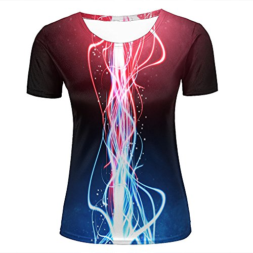 Womens Novelty 3D Print Colorful Fluorescent Rays Red Pattern Casual Short Sleeve T-Shirts Fashion Couple Tees XS