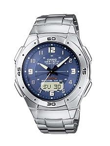 Reloj de caballero CASIO WVA-470DE-2AVEF de cuarzo, correa de acero inoxidable color negro (con radio, cronómetro, alarma, luz) de Casio