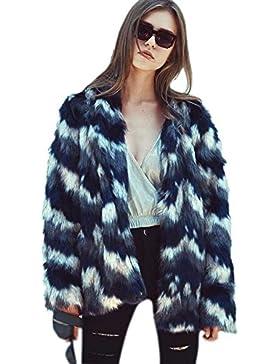 [Patrocinado]VLUNT Mujer abrigos de pieles Chaqueta Invierno Abrigo de Pelo Sintética de Fox Chaqueta Capa Abrigo Largo Fur...