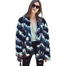 VLUNT Mujer Abrigos de Pieles Chaqueta Invierno Abrigo de Pelo Sintética de Fox Chaqueta Capa Abrigo