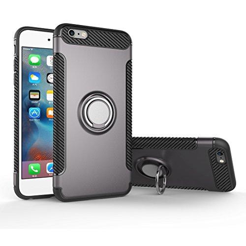Coque Pour iPhone 6 Plus et 6s Plus Magnetic 360 Degree Rotation Ring Armour Case de protection ( Color : Silver ) Grey