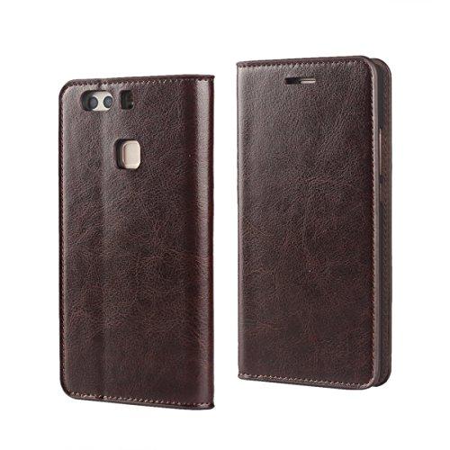 Für Huawei P9 Plus (5,5 Zoll),Sunrive Echt-Ledertasche Schutzhülle Etui Hülle mit Standfunktion Flip Lederhülle Cover Case Handyhülle Schalen Handy Tasche(braun)+Gratis Universal Eingabestift