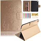 iPad Mini 4 Case, Dteck Slim Lightweight [Embossed Design Series] PU Leather [Card Slots] Protective Flip Stand Wallet Case for Apple iPad Mini 4 (7.9 inch iOS Tablet), Gold