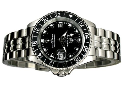 Automatik Taucher Uhr mit 24h Anzeige u. Metallband T0082