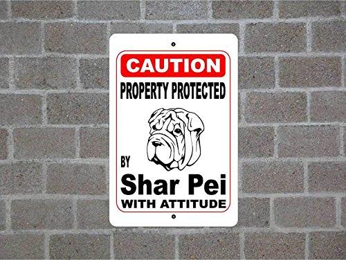 Teisyouhu Zitat Metall Schild Eigentum von Shar Pei Guard Dog Achtung Rasse Hund Pet Post Wand geschützt Home Dekoration Zeichen für ()