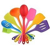 4YANG Set 8 pezzi di utensili da cucina premium in silicone con rivestimento solido igienico resistente al calore -include: Spatola, Schiumarola, Mestolo, cucchiaio, spatola, spooula, Spatola e Pennello (colorato)