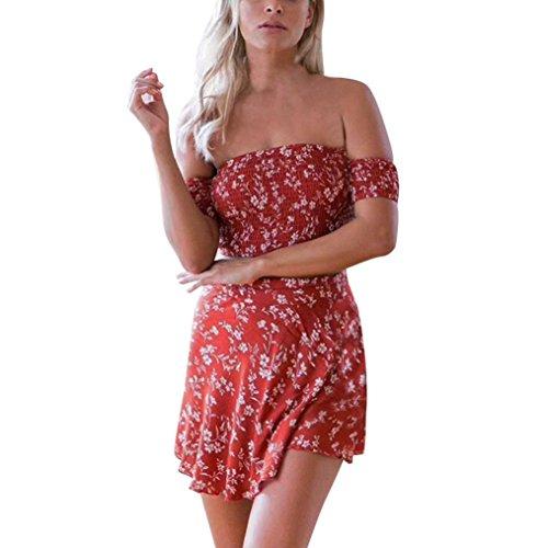 TWBB Sommer Damen Off Shoulder Chiffon Ärmellos Beiläufig Drucken Bluse+ Rock Zweiteilige Outfit (L, rot)