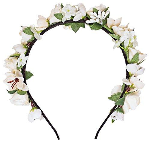 Trachtenland Blumen Haarreif Sabia - Creme Weiß