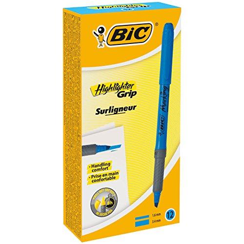 Bic Brite Liner Grip Textmarker, Blau, 12 Stück 12er-Packung blau