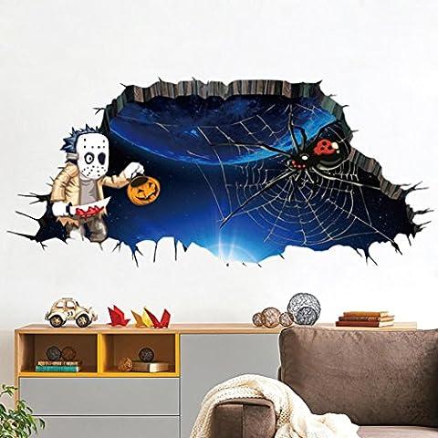 DOLDOA 3D Happy Halloween Haushalt Zimmer Wand Boden Aufkleber Mural Dekor Abziehbild abnehmbar (A)