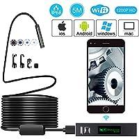 Cámara de Endoscopio WIFI de 5 Metros 2.0 Megapíxeles Cámara de Inspección de Serpientes de Tubo Semi Rígido HD 1200P IP68 con Lente de 8 mm y 8 LED Para IOS/Android / Tableta