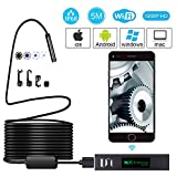 WiFi Endoskop Kamera 2.0 Megapixel 1200P HD Inspektion Kamera IP68 Wasserdicht mit 8 Verstellbare LED für IOS Android Smartphone,Tablette,PC(Schwarz-5M)