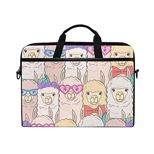 Ahomy Cute Llamas Brille Fliege Blumen 14-14,5 Zoll Multifunktional Stoff Wasserdicht Laptop Tasche Aktentasche Schultertasche Messenger Bag