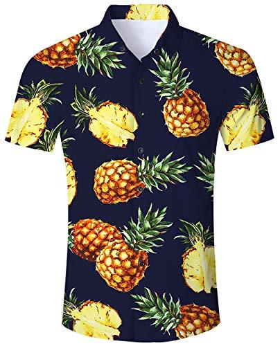 ALISISTER Hawaiihemd Herren Button Down Kurzärmliges Ananas Hemd Muster Funky Hawaii Shirts Beiläufig Strand Aloha Party Urlaub Hemden Regular Slim Fit XL