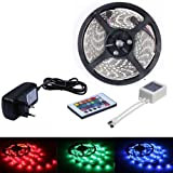 Samgu Komplett Set - 5M RGB wasserdichte MEHRFARBIG SMD3528 300 LED Licht Band Streifen Strip (RGB) + 24 Taste IR Fernbedienung Controller + Netzteil DC 12V 2A Trafo
