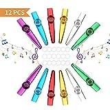 Kazoo, 12 Pezzi Metal Kazoo Strumenti Musicali Kazoo con 18 Membrane Flauto Membrana Bocca Membrane Kazoo per Flauto