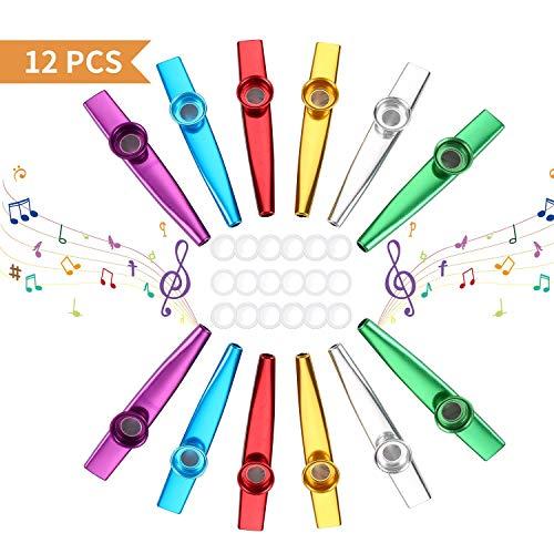 Kazoo, 12 Stück Metall Kazoo Musik Instrument für Ukulele, Gitarre, Violine, Klaviertastatur mit 18 Flöten-Membranen für Kinder Musikliebhaber - 6 Farben