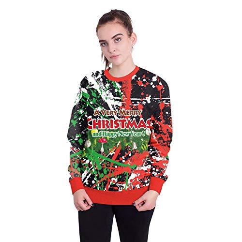 Damen Herren Sweatshirt Hoodies 2018 Europäische Und Amerikanische Erwachsene Weihnachtsmann Rundhals Langarm-Pullover, L, Weihnachten Malerei