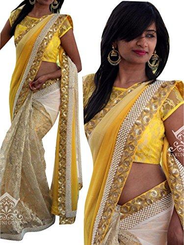 I-Brand Yellow Color Georgette & Rasal Net Fabric Perls & sequencework Saree...