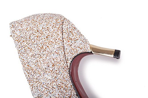 AllhqFashion Femme à Talon Correct Matière Mélangee Couleur Unie Tire Pointu Chaussures Légeres Doré