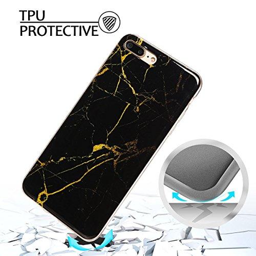iPhone 7Plus Custodia, Marmo Design Pattern TPU sottile in silicone Custodia protettiva per iPhone 7Plus, E Lush cristallo trasparente trasparente antigraffio Custodia Ultra Chic Thin Morbido Custod Nero e oro