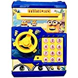 APX Toys Battery Operated Mini ATM Safe Kids Piggy Saving ATM Bank with Electronic Lock Coin Bank Cash Deposit Cartoon Minion for Kids