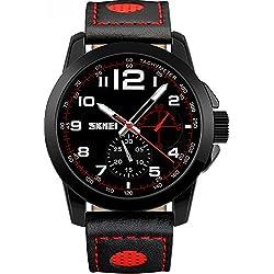 Herren Lederband Analog Dekorieren Sub Zifferblatt Quarz Wasserdichte Sport-Uhren Outdoor Armbanduhr sk9106rot
