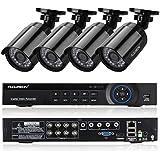 FLOUREON Kit Complet 4CH AHD 720P DVR CCTV Vidéo Enregistreur de Sécurité avec 1500TVL 4 Caméras - Système Accès à distance via Cloud - Supporter la technologie P2P/Sortie HDMI/Détection de mouvement