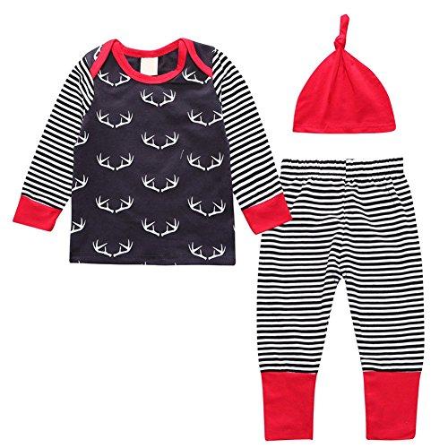 Doubleer Neugeborenen Kleidung Set Langarm T shirts Tops Hosen Hut 3 Stücke Kleidung Anzug