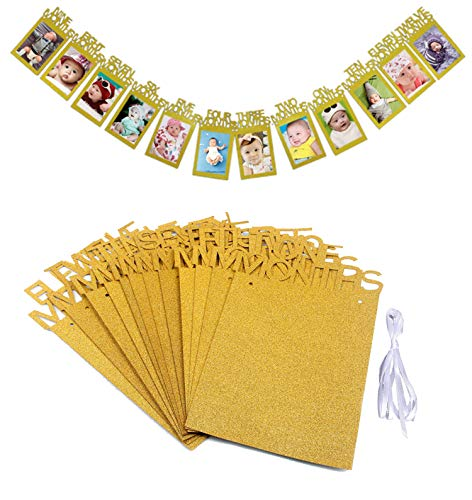 to Banner, Baby Girl und Baby Boy Geburtstag Dekorationen, OOTSR 12 Monate Foto Banner für Birthday Party Supplies Bunting Dekoration (Gold) ()